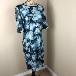 London Times Blue Abstract Floral Stretch Dress 10